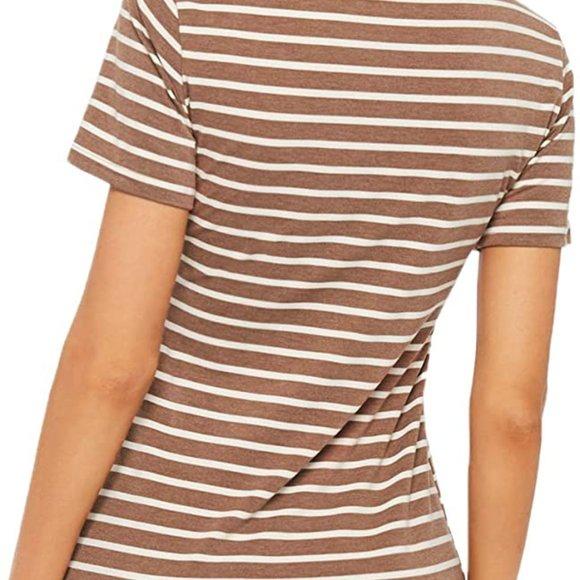 Brown Women's Casual Short Sleeve Striped Bodycon SFG